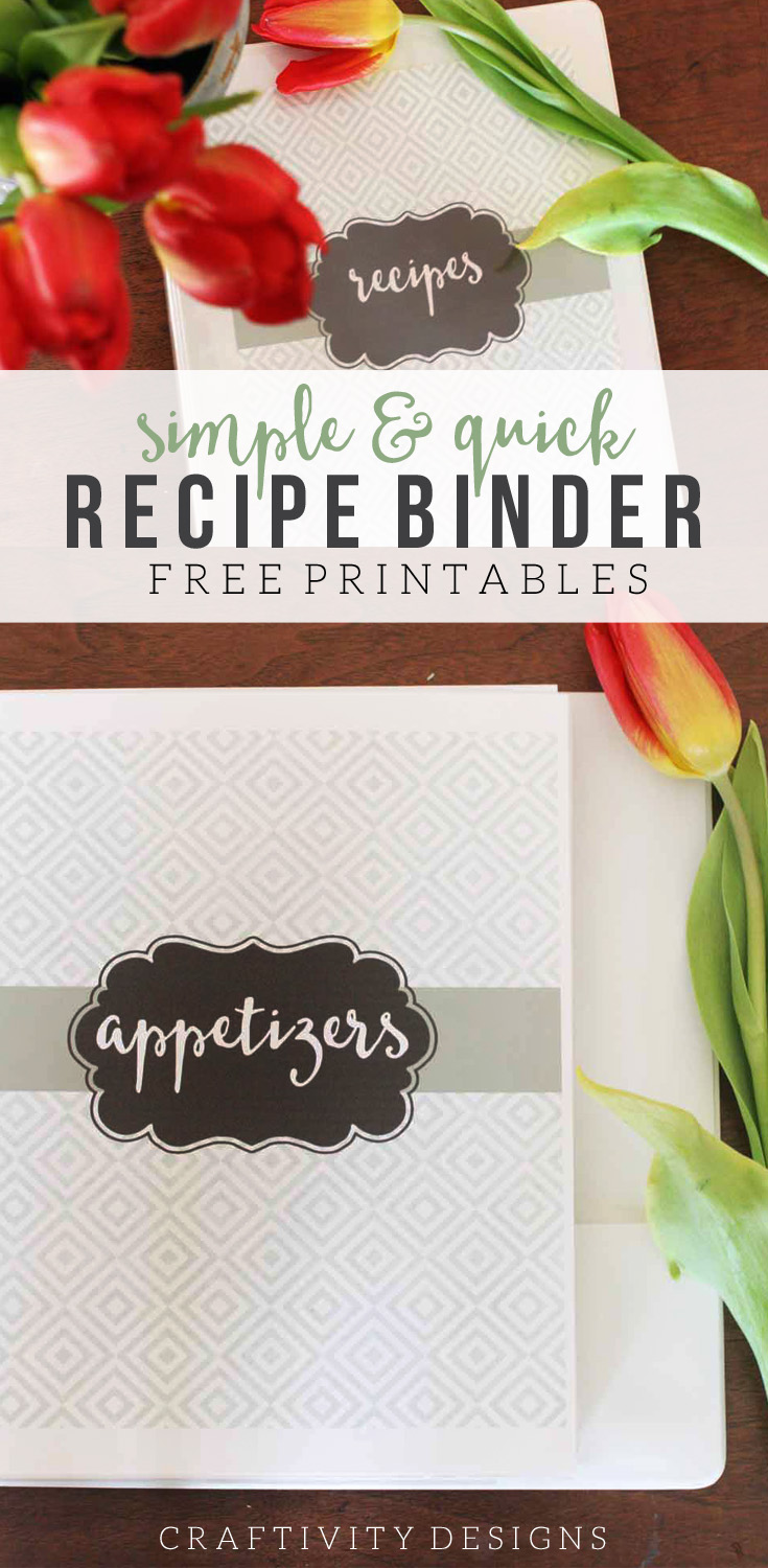 simple and quick recipe binder with free printables craftivity designs