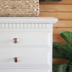 Vintage Dresser Makeover in Primitive Chalky Finish by DecoArt with Modern Bar Pulls and Geometric Knobs in Polished Nickel. Thrift Store Upcycle by @CraftivityD