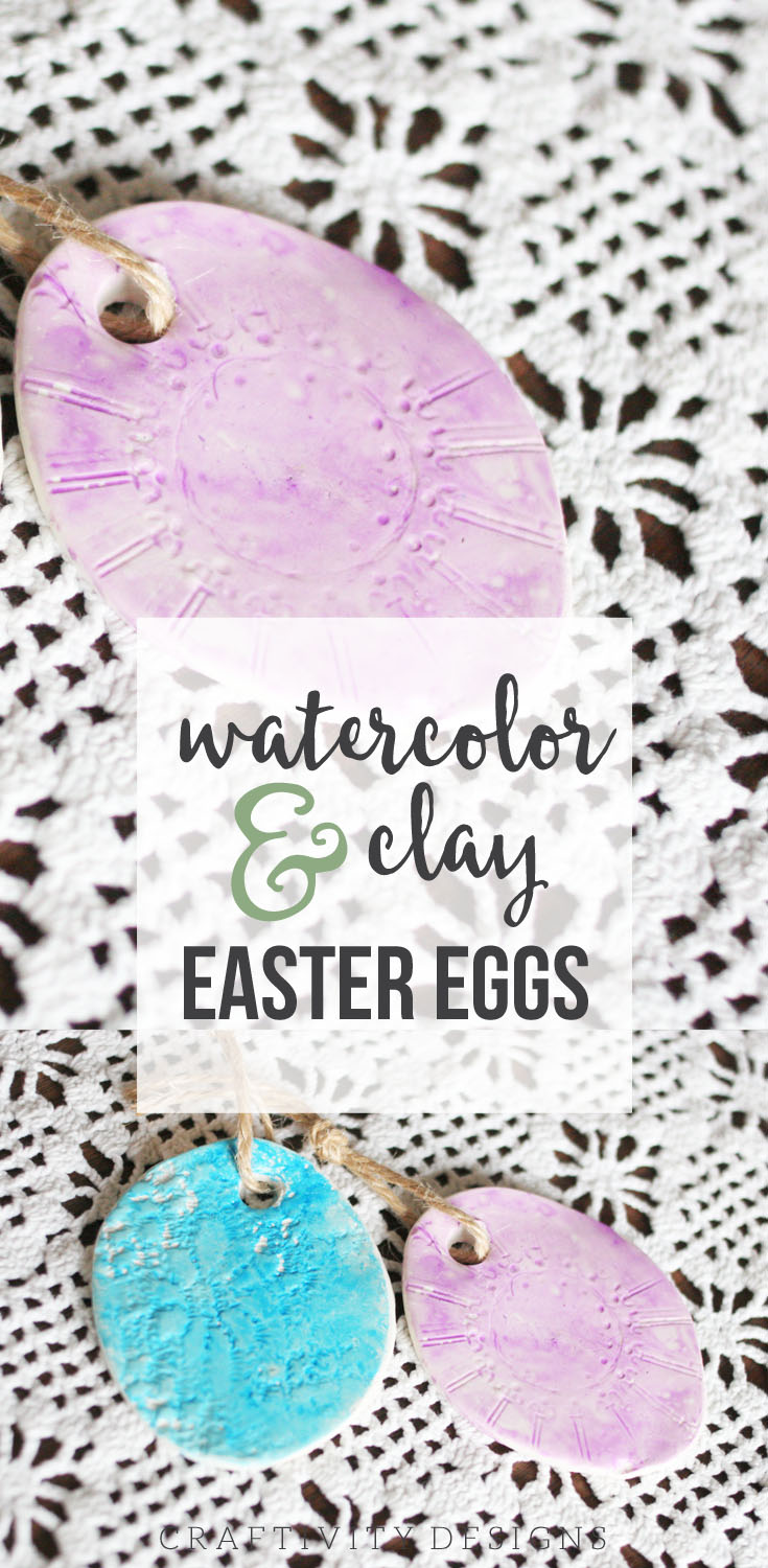 How to make watercolor and clay easter eggs. An Easter craft that you can complete with the kids. by @CraftivityD