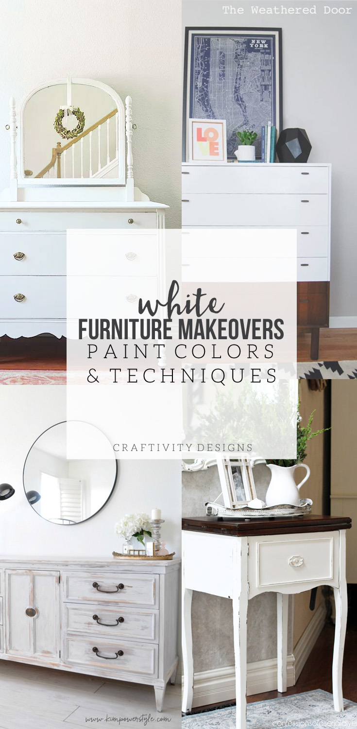 White Furniture Makeovers, paint colors and techniques. White is a versatile, classic, option for painted furniture. This post discusses 4 different techniques, including paint colors. by @CraftivityD