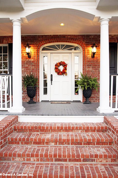 Traditional Style Front Porch, White Front Door Ideas, Exterior Design and Front Porch Ideas with paint color suggestions. by @CraftivityD