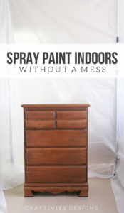 How to spray paint indoors! Build a DIY Spray Paint Booth in your garage. It's a portable, any size, easy setup, option for spraying paint indoors. Great for furniture, cabinetry, projects and more. Click the image to get the tutorial.