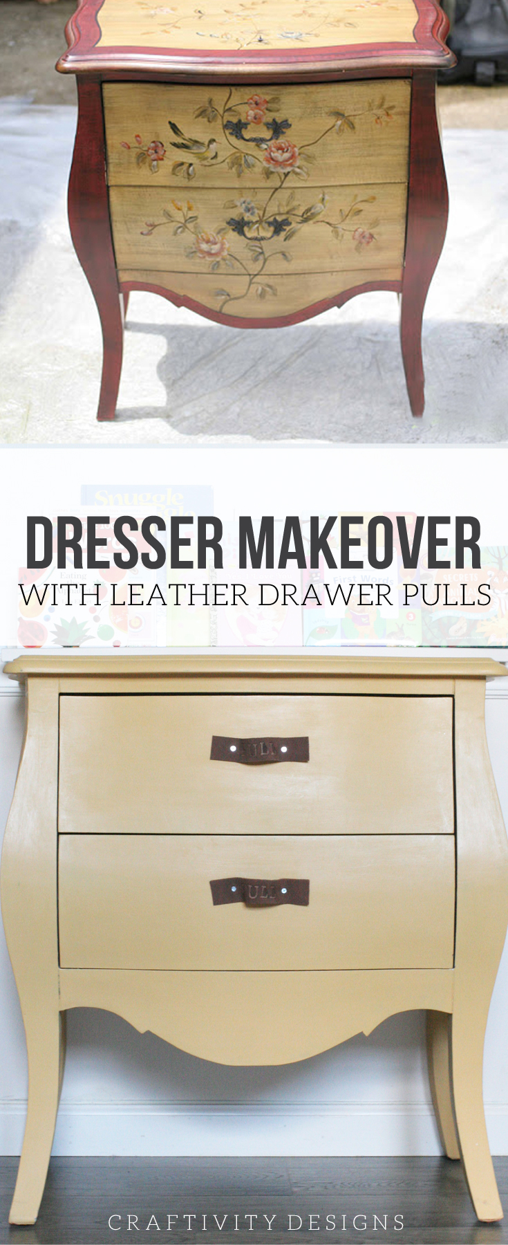 A small dresser for a boys bedroom in ASCP Arles with DIY Leather Drawer Pulls. Click through for the full tutorial.