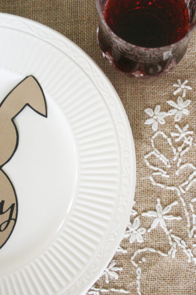 "Are you looking for an Easter Table Setting? Grab this Free Easter Bunny Printable and have a ""Happy Easter"" meal with family. Easter Place Setting, Easter Tablescape, Click to download the Free Easter Bunny Template ---> https://craftivitydesigns.com/easter-bunny-template/"