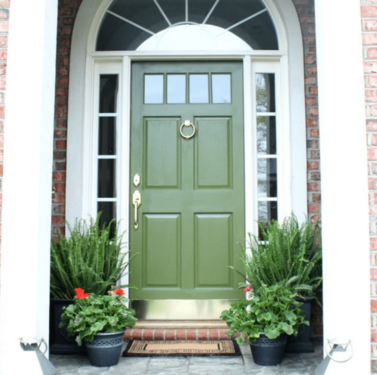 Green front door ideas. Exterior decor ides for the porch. Improve your curb appeal, inspired by this image from Emily A Clark. by @CraftivityD