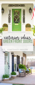 Green front door ideas. Exterior decor ides for the porch. Improve your curb appeal. by @CraftivityD