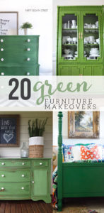 20 Green Painted Furniture Makeovers for the home. Green furniture for the Living Room, Dining Room, Bedrooms and Office. Click through to see 20 beautiful furniture makeovers with paint colors!!