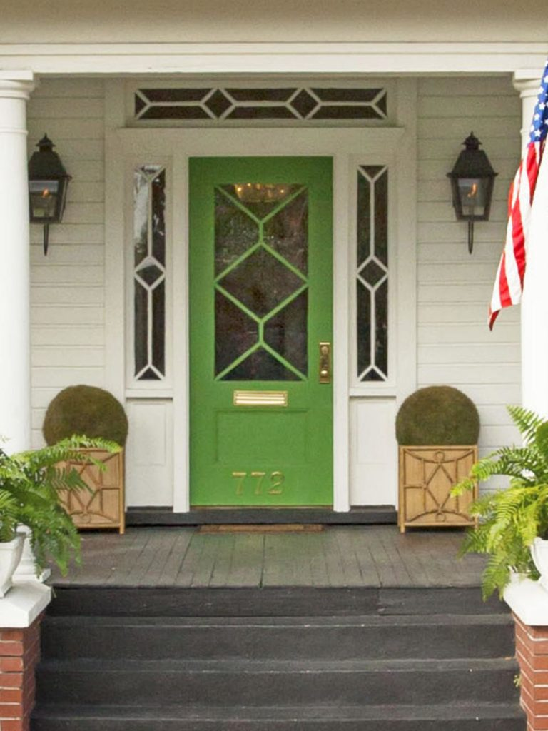Bright Green front door ideas. Exterior decor ides for the porch. Improve your curb appeal, inspired by this image from HGTV. by @CraftivityD