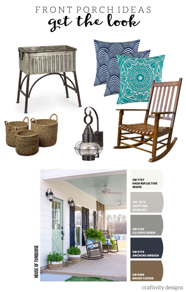 Mint green front door ideas. Exterior decor ides for the porch. Improve your curb appeal, inspired by this image from House of Turquoise. by @CraftivityD
