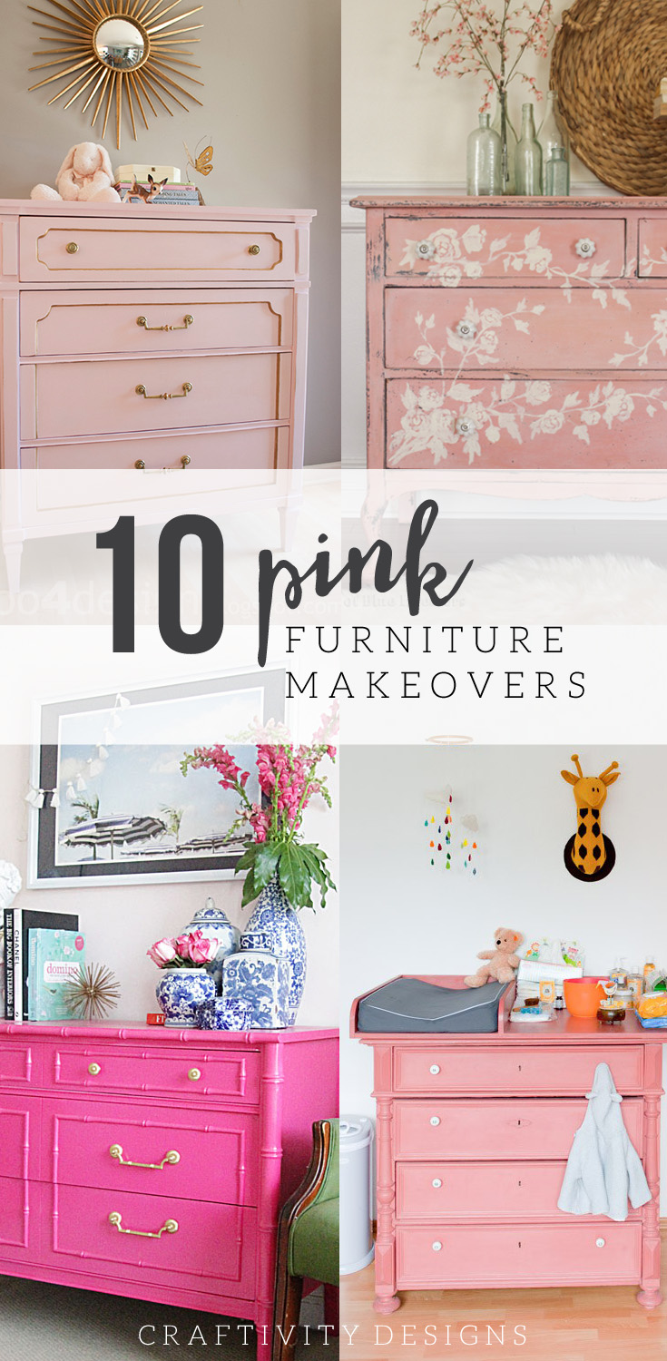 10 Pink Painted Furniture Makeovers  Pink Furniture  Pink Dressers  Pink  Paint Colors. 10 Pink Painted Furniture Makeovers   Craftivity Designs