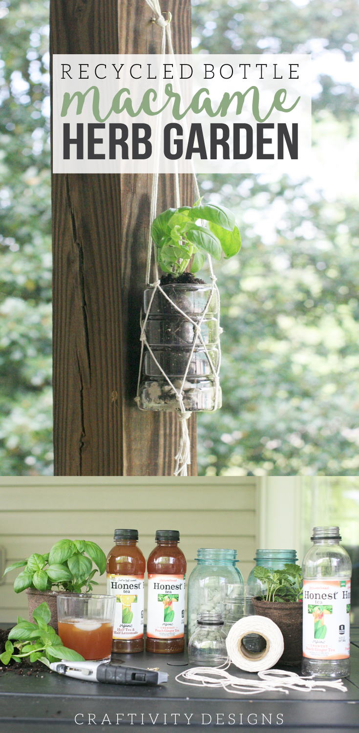 Learn how to make a Macrame Herb Garden using recycled plastic bottles. It's the perfect Earth Day craft! by @CraftivityD