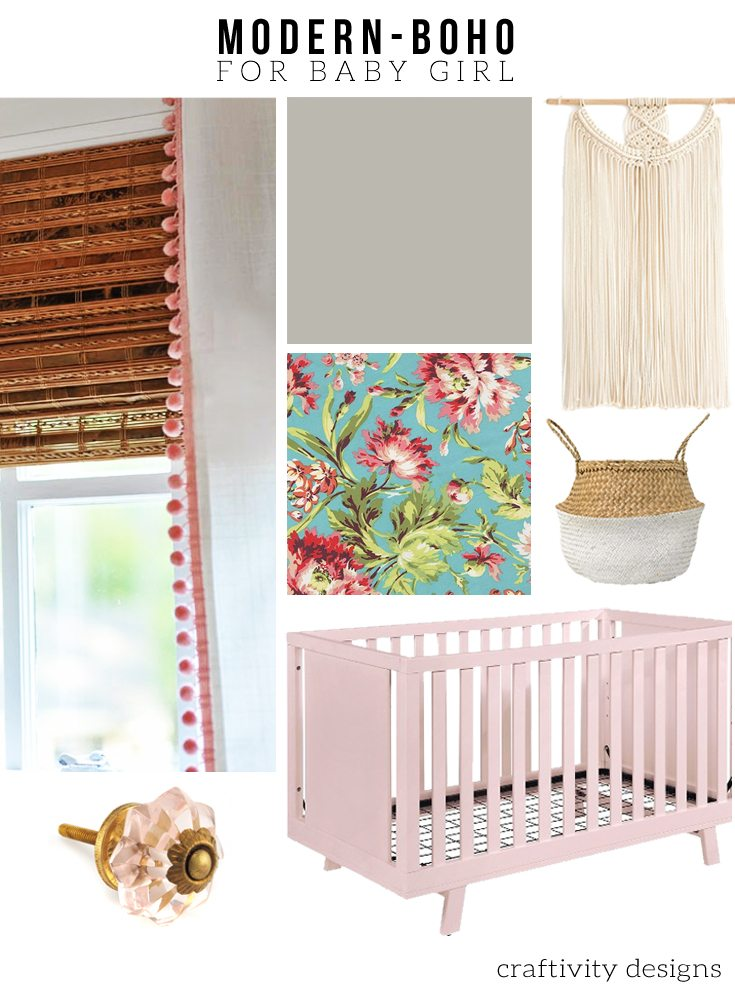 A mix of modern and bohemian style in this nursery mood board. One Room Challenge - PLAN - Nursery Makeover.