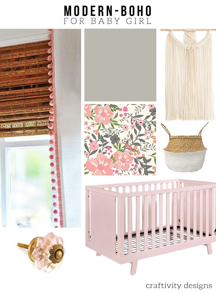 Sources for a modern bohemian nursery for baby girl. A mix of modern and bohemian style in this nursery mood board. One Room Challenge - PLAN - Nursery Makeover.