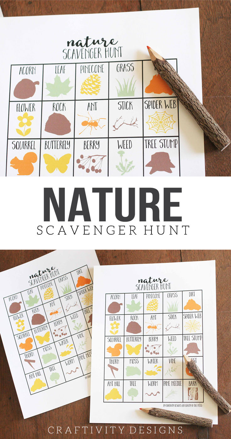 nature scavenger hunt for kids, free printable