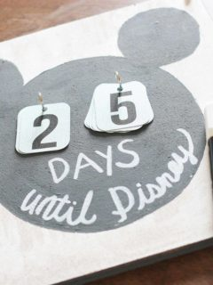Disney Countdown Calendar with printable numbers and the words
