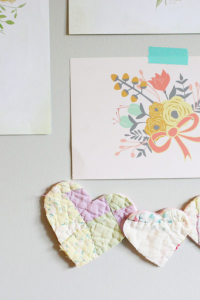 Quilted Hearts and Floral Prints in a Modern Boho Nursery by Craftivity Designs