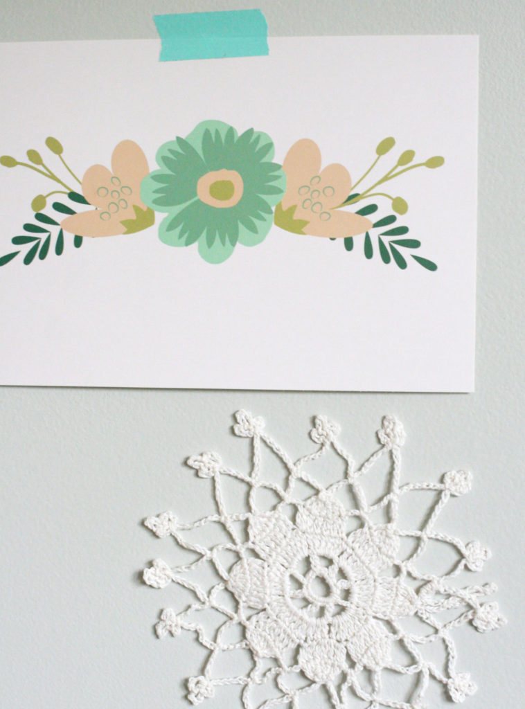 Wall Decor - Doily and Floral Print - for a Budget Nursery