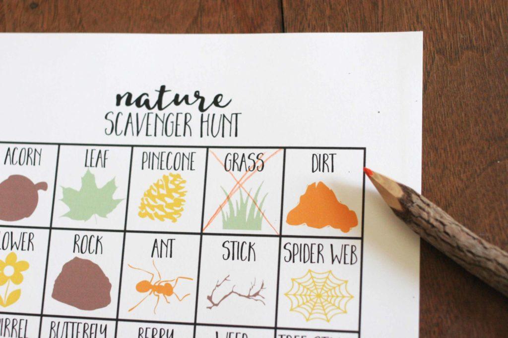 Nature Scavenger Hunt for Kids, Printable Scavenger Hunt Template