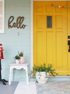 Yellow Front Door Ideas, Front Porch, Exterior Colors