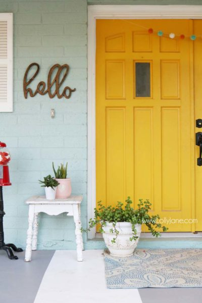 Yellow Front Door Ideas, Front Porch, Exterior Colors