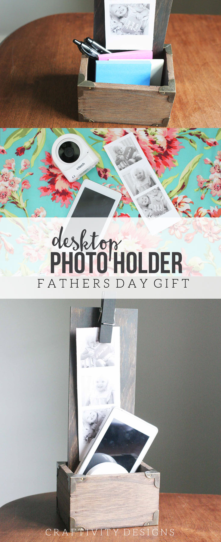DIY Desktop Photo Holder, Handmade Father's Day Gift, DIY Desk Organizer