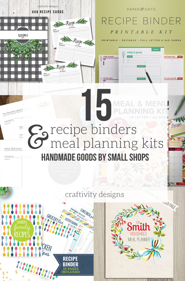 In the market for a Recipe Binder or Meal Planning Kit? Check out 15 Fantastic Recipe Binder Templates and Meal Planning Kits, all Handmade Items sourced from Small Shops. Click the image to see the full list!