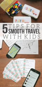 5 Tips for Smooth Travel with Kids, Travel Games, Travel Map, Free Printables by Craftivity Designs