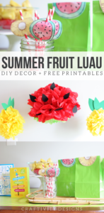 Summer Fruit Luau, Summer Party Ideas, DIY Luau Decorations, Pineapple Party, Watermelon Party, Watermelon Pom Pom, Pineapple Pom Pom, Free Printable, Watermelon Goodie Bag Topper, Pineapple Topper, Pineapple Straw Decoration, Watermelon Straw Decoration by Craftivity Designs
