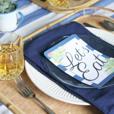 Pretty Pineapple Tablescape with a FREE Printable Menu