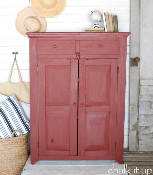 10 Red Painted Furniture Makeovers, Red Furniture, Red Dressers, Red Tables, Red Desks