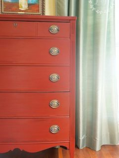 11 Red Painted Furniture Makeovers, Red Furniture, Red Dressers, Red Tables, Red Desks