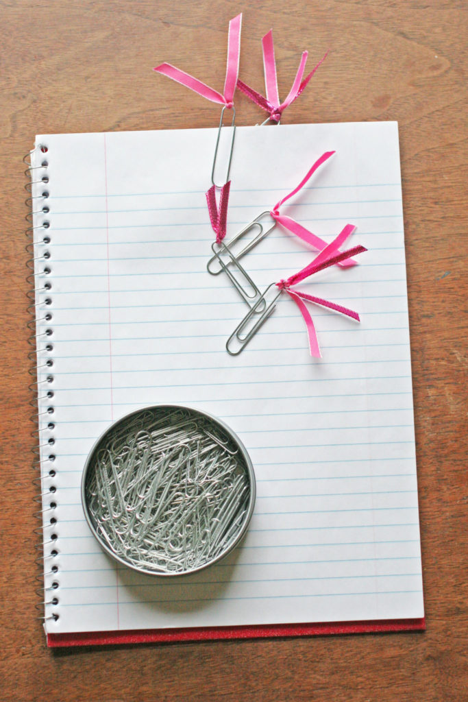 How to make Ribbon Bookmarks from Paper Clips. A 15 Minute Back to School craft. Match the bookmarks to an agenda or a notebook for pretty organization! by Craftivity Designs