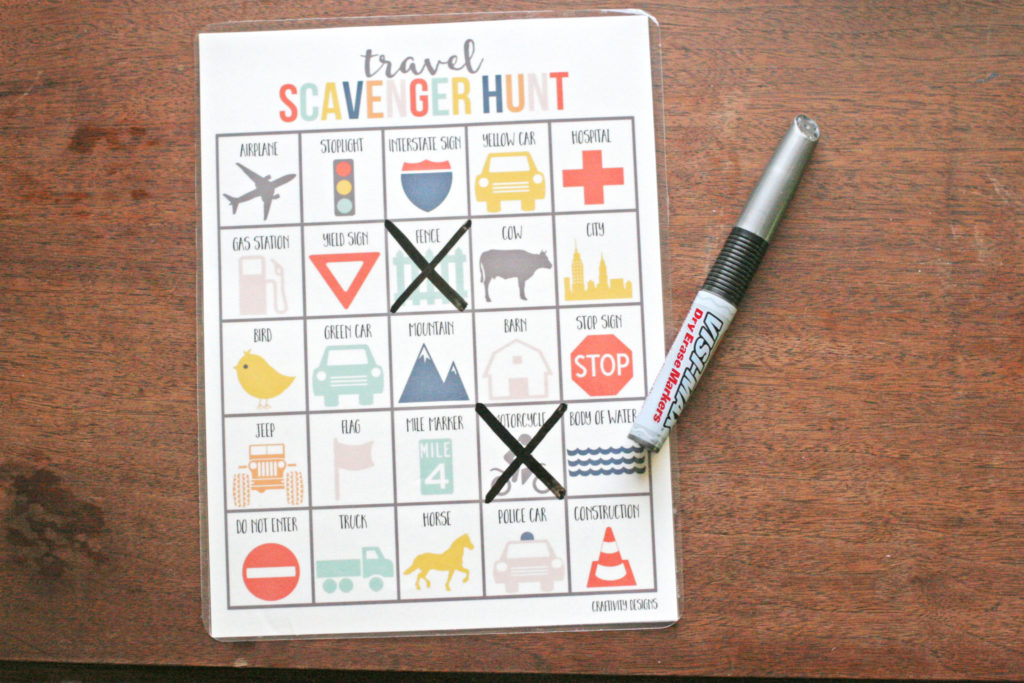 travel scavenger hunt, laminated, dry erase marker