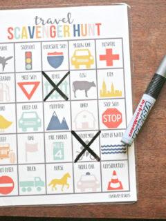 travel scavenger hunt, laminated, dry erase marker