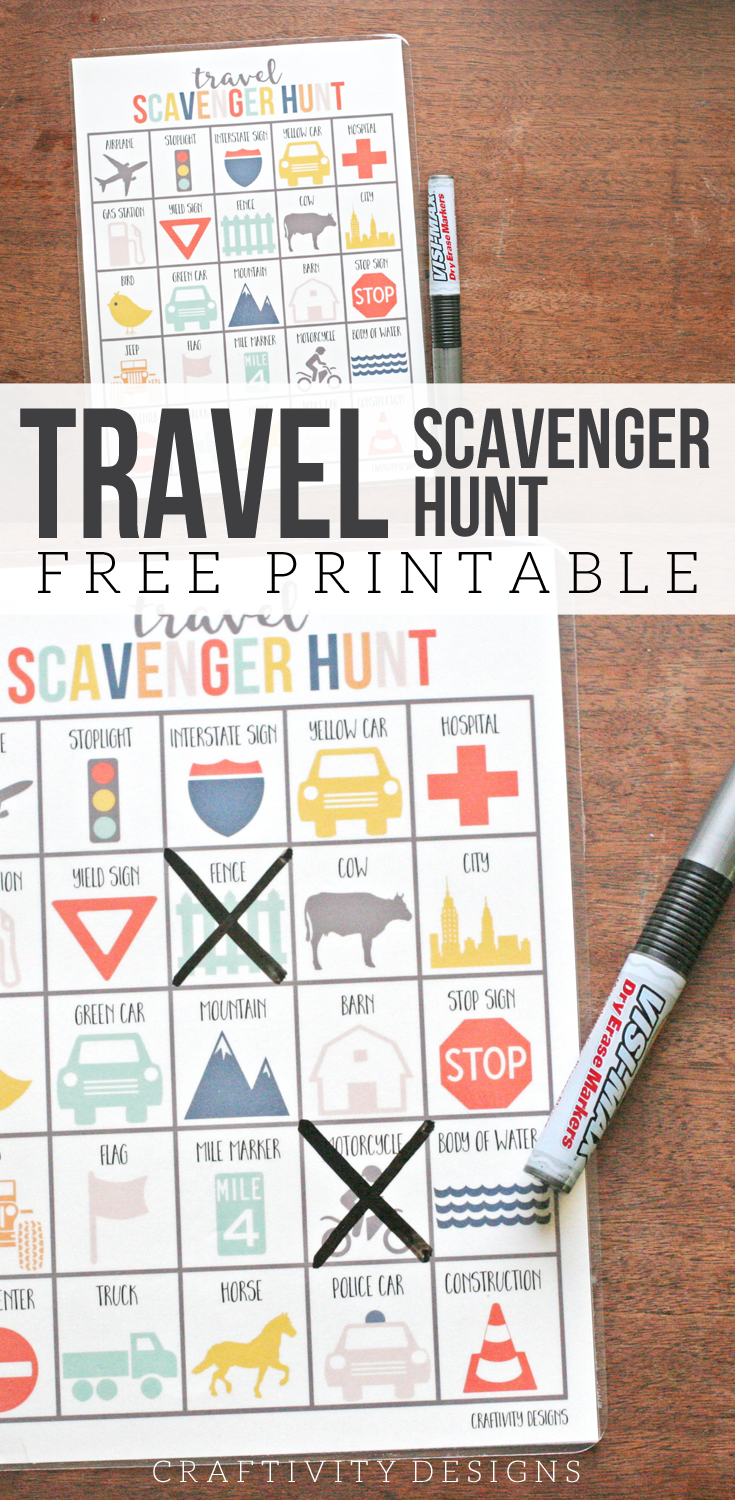 Download and print a FREE Travel Scavenger Hunt for your family's next road trip! Boredom buster, Car game, Travel game, Printable activities for kids, Craftivity Designs