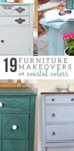 19 Painted Furniture Makeovers in a Coastal Color Palette, Blue Furniture, Green Furniture, Coastal Design, Beach Decor, Coastal Decor, Teal Furniture, Green Furniture