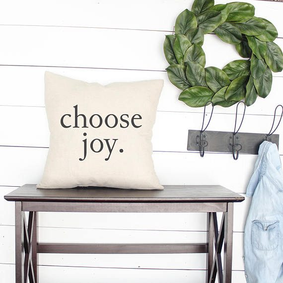 """""""Choose Joy"""" Pillow Cover (Click Image to View the Listing)"""