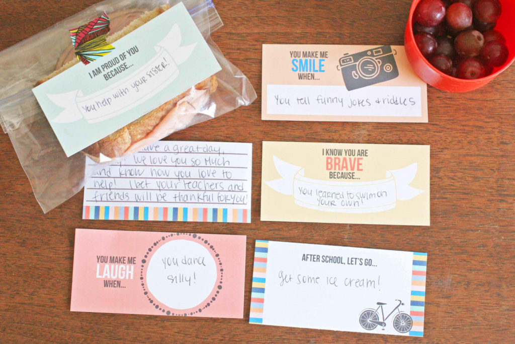 Back to School Lunch Box Notes. Ease your child's Back to School fears with an encouraging set of free Lunch Box Cards. This set of 6 lunch box note templates will brighten their day! Click to download the FREE printable.
