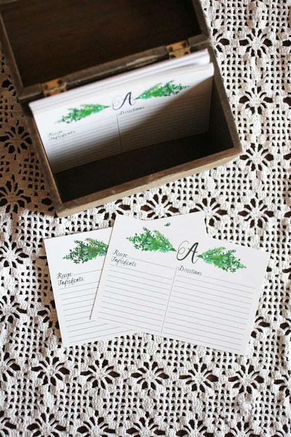 Personalized Botanical Recipe Cards (Click Image to View the Listing)