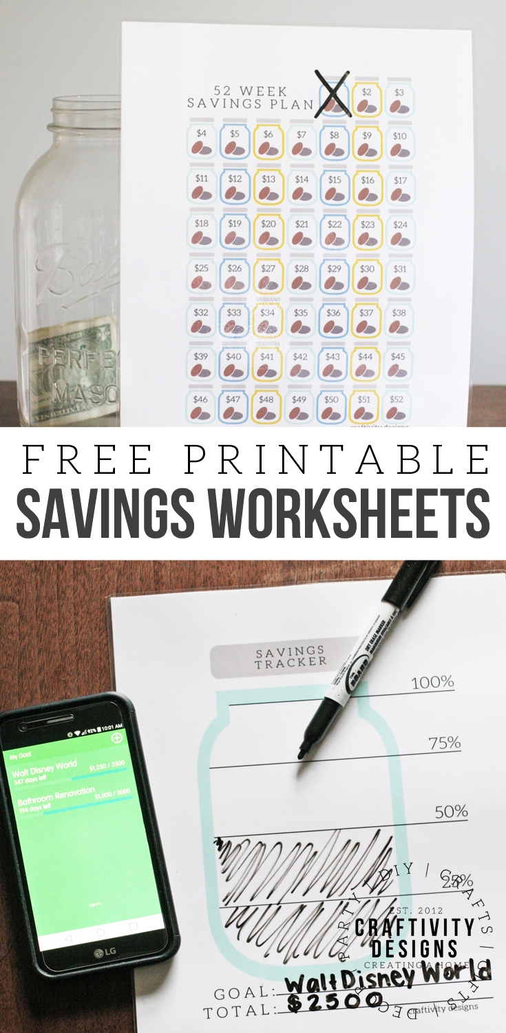 Get Organized with a Free Savings Tracker Printable, Savings Tracker Template, Savings Worksheet, Financial Freedom, Vacation Planning, Renovation Planning