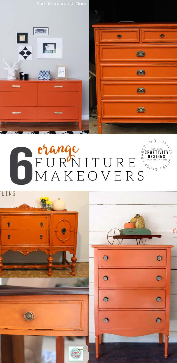 6 Orange Furniture Makeovers, Bold Color Furniture, Painted Furniture, #orange #fall
