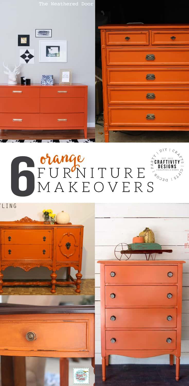 6 Orange Furniture Makeovers, Bold Color Furniture, Painted Furniture,  #orange #fall