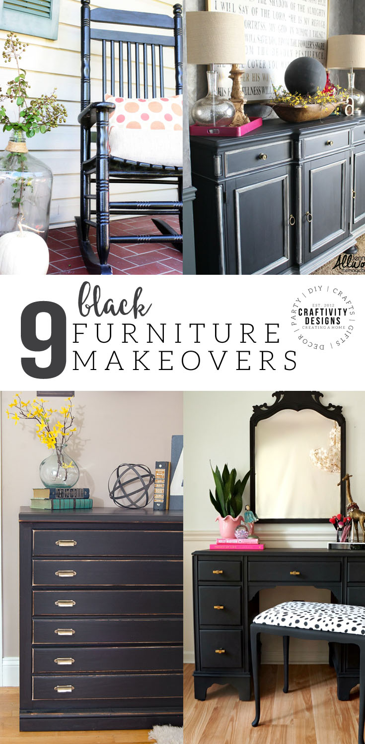 9 Dramatic Furniture Makeovers using Black Paint, Black Painted Furniture, Black Furniture #makeover #paintedfurniture