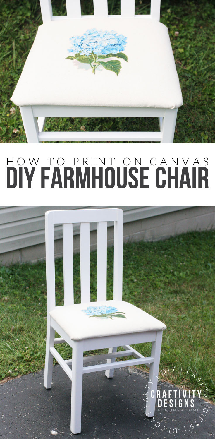How to make a DIY Farmhouse Chair. Furniture Makeover. How to print on canvas. Hydrangea on Canvas. #repurpose, #farmhouse