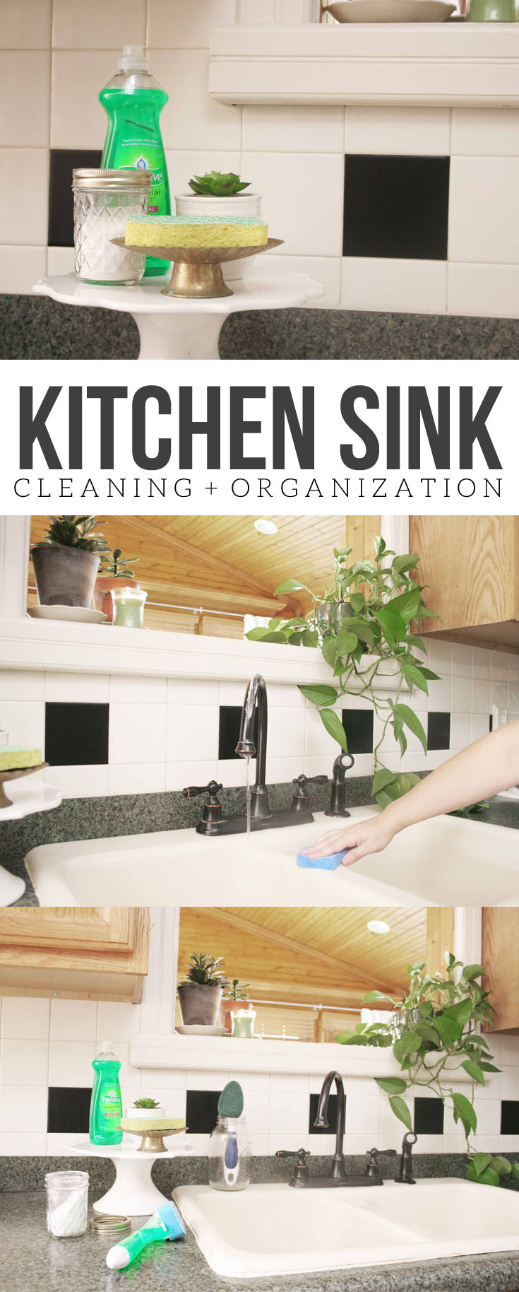 How to keep the Kitchen Sink Clean and Organized, Kitchen Sink Cleaning, Kitchen Sink Organization, Farmhouse Style Faucet, Oil Rubbed Bronze, Gooseneck, Farmhouse Sink #farmhousestyle #farmhouse #kitchen