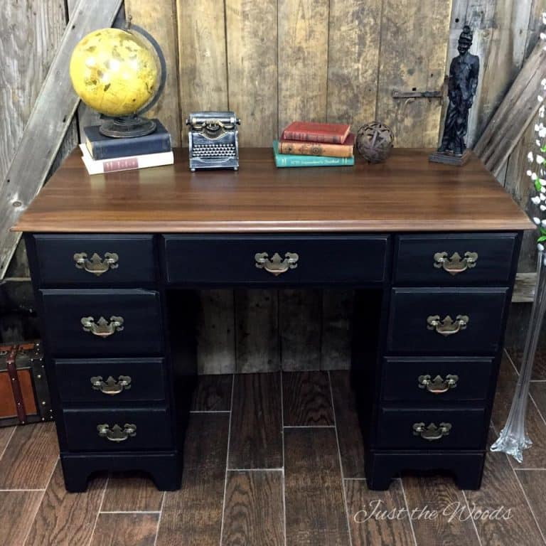 Vintage Desk buy Just the Woods, Do you have old furniture lying around? Update it! Check out12 stained furniture makeovers and techniques that will inspire you to get started, today.