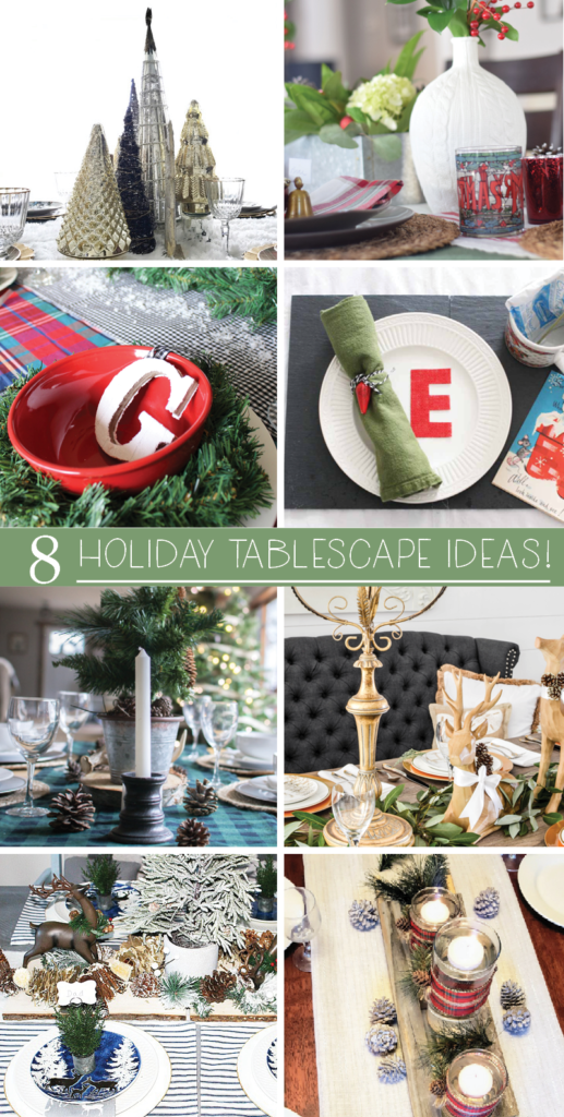 8 Christmas Table Ideas, Holiday Table Ideas, Tablescape, Table Setting #Christmas