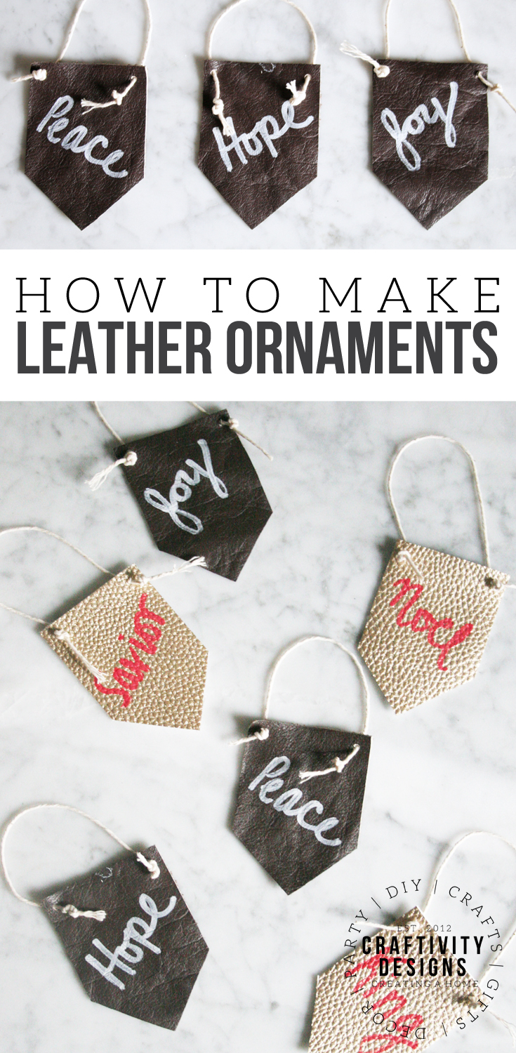 How to make Leather Christmas Ornaments, Mini Leather Pennants, Modern Rustic Christmas #leathercrafts