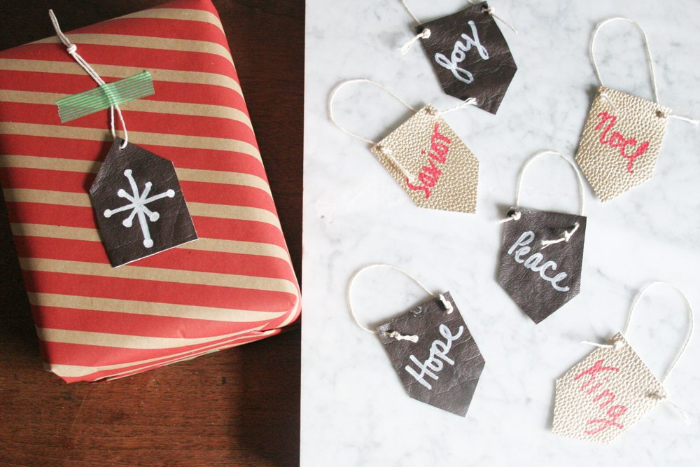 How to make Leather Gift Tags, Leather Labels, Leather Tags, #giftforhim #leathercrafts How to make Leather Christmas Ornaments, Mini Leather Pennants, Modern Rustic Christmas #diyornament
