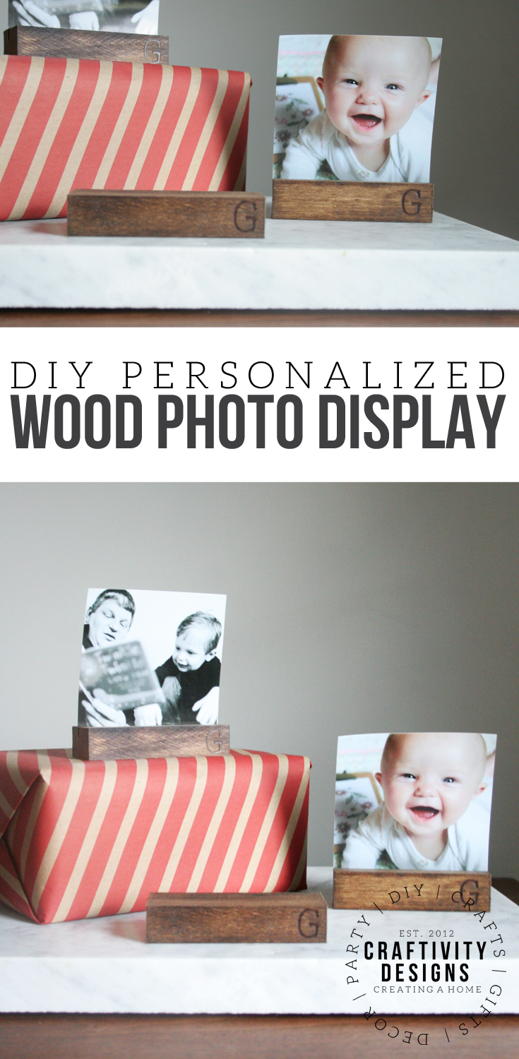 Learn how to make personalized wood photo holders for everyone on your Christmas list. A photo display stand is a great stocking stuffer! Photo Stand, Photo Display, stockingstuffer #diy